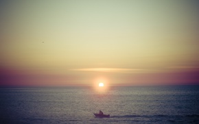 Picture sea, sunset, boat, sea, sunset, red sky, boat, red sky