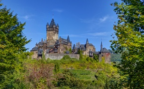 Picture greens, the sky, trees, castle, blue, Germany, Sunny, the bushes, Cochem
