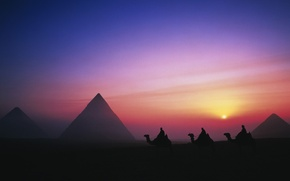 Picture sky, desert, landscape, sunset, night, Egypt, evening, sun, people, men, pyramids, silhouette, monuments, camels, Giza, …