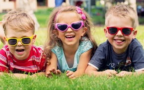 Picture joy, children, glasses, girl, lawn, boys