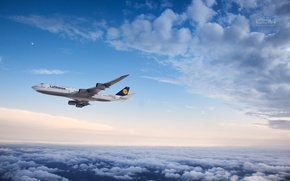 Picture Clouds, The plane, The moon, Flight, Boeing, Flight, Moon, Clouds, Boeing, Air, 747, Flying, Lufthansa, ...