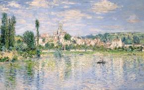 Wallpaper landscape, river, boat, picture, Claude Monet, Vétheuil In Summer