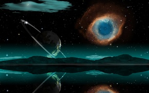 Picture the sky, stars, mountains, nebula, reflection, planet, orbit