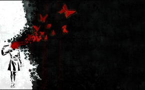 Picture void, butterfly, blood, shot, Woman, picolet