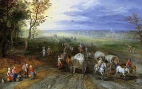 Picture road, picture, wagon, rider, A landscape with Travelers, Jan Brueghel the elder