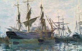 Picture picture, seascape, Claude Monet, Ships in Port