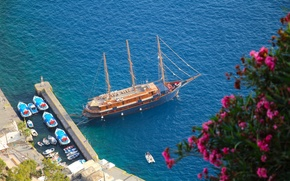 Picture sea, boats, yacht, Santorini, Greece, pier, Santorini, Oia, Greece, The Aegean sea, Aegean Sea
