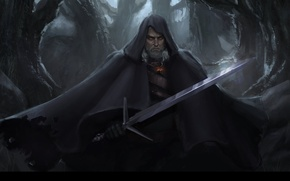 Picture sword, art, game, the Witcher, art, Geralt of Rivia, Geralt of Rivia, Witcher 3: Wild …