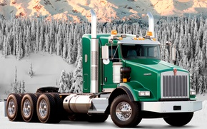 Picture forest, snow, mountains, truck, green, t800, the front, track, tractor, Trak, Kenworth, kenworth, T800