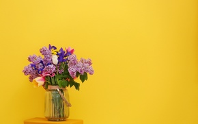 Wallpaper flowers, yellow, background, bouquet, tulips, vase, lilac