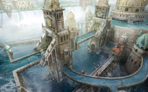 Picture people, waterfall, boats, The city, tower, river, Magic the Gathering - Wizards of the Coast