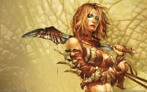 Wallpaper weapons, blood, Girl
