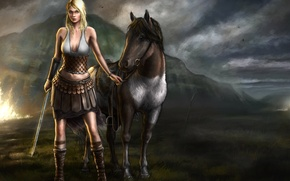 Picture look, girl, weapons, fiction, animal, horse, sword, art