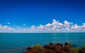 Picture sea, the sky, clouds, shore, horizon, rocky
