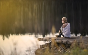 Picture girl, nature, lake