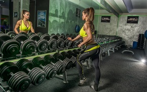 Picture woman, reflection, mirror, workout, gym, fitness, dumbbells