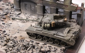 Wallpaper ruins, tank, Pershing, model, toy