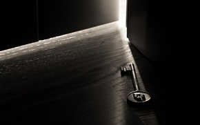Wallpaper light, darkness, room, the door, macro key
