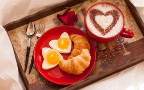 Picture holiday, croissant, holiday, cakes, heart, flower, Breakfast, Cup, Valentine's Day, love, coffee, rose, growing, heart, ...