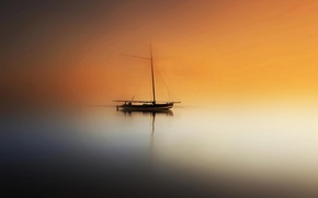 Picture ghost, sea, fog, ship, boat, mist, sailboats