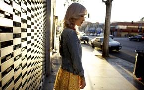 Picture girl, cars, woman, model, street, tattoo, bokeh, blonde, tattoos, female, skirt, jacket, vehicles, traffic light, …