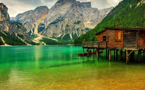 Picture greens, trees, mountains, lake, rocks, boats, pier, Italy, Lake Sudtirol