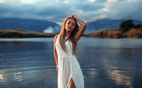 Picture the sky, water, girl, dress, Mary Jane, Ivan Gorokhov