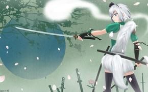 Picture girl, tree, spirit, sword, katana, art, tail, touhou, back, konpaku youmu, lemoo