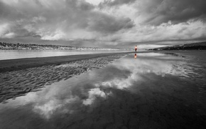 Wallpaper black and white, clouds, girl, Shore