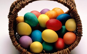 Picture basket, Easter, eggs dyed