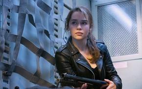 Picture look, Emilia Clarke, leather jacket, Emilia Clarke, Sarah Connor, Terminator: Genesis, Terminator Genisys