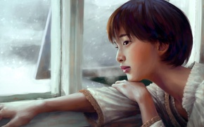 Picture look, actress, window, art, painting, Gouriki Ayame
