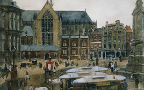 Picture figure, picture, watercolor, the urban landscape, Georg Hendrik Breitner, The Dam square in Amsterdam