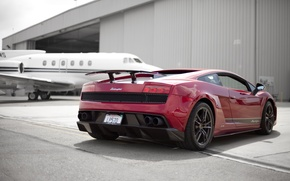 Wallpaper Lamborghini, hangar, red, Superleggera, Gallardo, the plane, red, Lamborghini, Lamborghini, Gallardo, Superleggera, LP570
