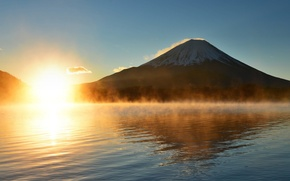 Picture the sun, rays, light, sunset, fog, lake, Japan, mount Fuji