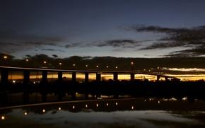 Picture sunset, bridge, lights, City, twilight, bridge, sunset