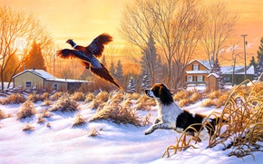 Picture Frank Of Central City, Getting Up, hunting, dog, snow, fly, nature, winter, art, painting, bird, ...