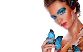 Picture look, girl, butterfly, style, background, model, body art, body art