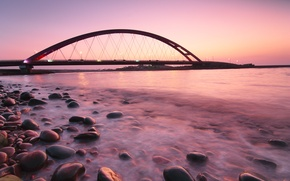 Picture sea, sunset, bridge, stones, the ocean, pink, shore, the evening, Germany, backlight, lights, calm, Germany, ...