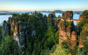 Picture trees, mountains, bridge, fog, dawn, ate, horizon, pine, Germany, Germany