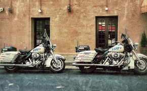 Picture motorcycles, street, Harley-Davidson, police, highway patrol