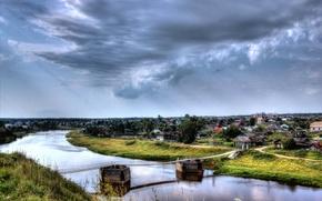 Picture landscape, nature, river, village, Verkhoturye, Ural