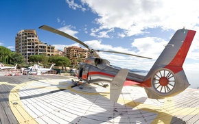 Picture clouds, city, helicopter, background
