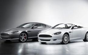 Picture Aston Martin, White, Grey, DB9, Coupe, Volante