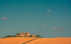 Picture field, the sky, trees, house, Italy, farm, Tuscany