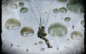 Picture the sky, clouds, retro, art, soldiers, combat, group, landing, Marines, skydivers, WW2, photo Wallpaper, paratroopers, …