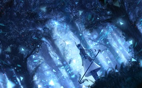 Picture forest, girl, trees, nature, anime, art, horns, bou nin