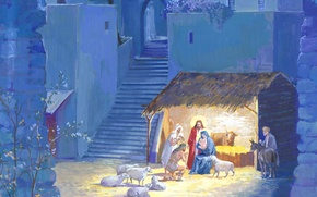 Picture holiday, figure, sheep, Christmas, picture, the Bible, nursery, the shepherds