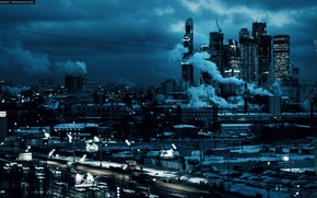 Picture Apocalypse, Blue, Russia, skyscrapers, capital, ART.IRBIS Production, KhusenRustamov, Gloomy Weather, Moscow-City 2016