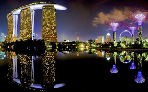 Picture lights, skyline, water, Night, view, Singapore, buildings, skyscrapers, Asia, Lake, Pond, Casino, Marina Bay Sands …